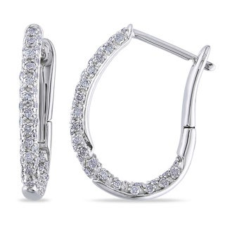 Miadora 10k White Gold 1/2ct TDW Diamond Hoop Earrings (G-H, I2-I3)