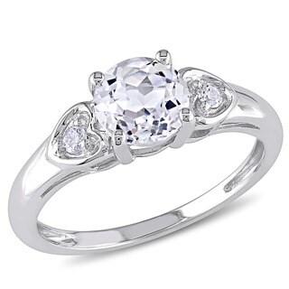 Miadora 10k White Gold White Topaz and Diamond Ring with Bonus Earrings