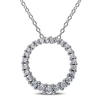 Miadora Sterling Silver 1/2ct TDW Diamond Open Circle Pendant Necklace (G-H, I3)