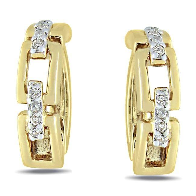 Miadora Yellow Silver Diamond Accent Cuff Earrings