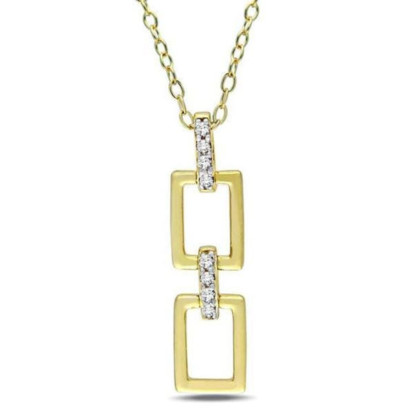 Haylee Jewels Yellow Silver Diamond Accent Link Design Necklace