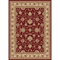 Red and Ivory Abstract Area Rug (7'6 x 9'10)
