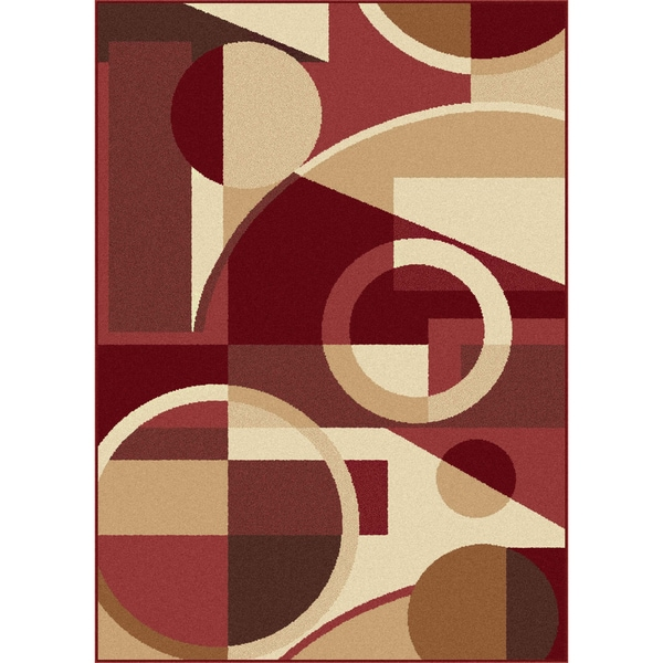 Multi Collection Red and Ivory Area Rug (7'6 x 9'10)