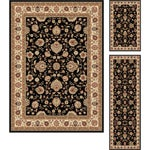 "Multi Collection Set of Three Black Oriental Area Rugs (1' 8"" x 2' 8"", 1'8"" x 5', 5' x 7')"