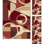 "Multi Collection Set of Three Geometric Area Rugs (1' 8"" x 2' 8"", 1'8"" x 5', 5' x 7')"
