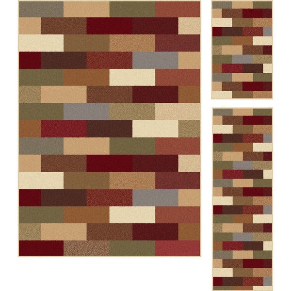 Alise Multi Collection Set of 3 Area Rugs (1'8x2'8, 1'8x5', 5'x7'')
