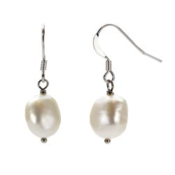DaVonna Sterling Silver White Baroque Freshwater Pearl Earrings (9-10 mm)