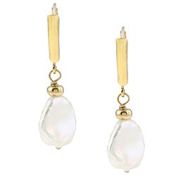 DaVonna 14k Gold over Silver White FW Keshi Pearl Earrings (9-11 mm)