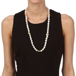 White Baroque and Pink Coin FW Pearl 28-inch Endless Necklace (10-12 mm)