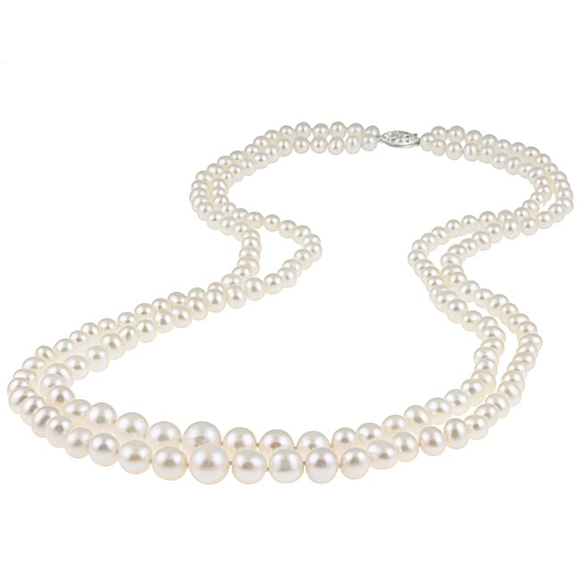 DaVonna Silver White FW Pearl 2-row Graduated Necklace (6-11 mm)
