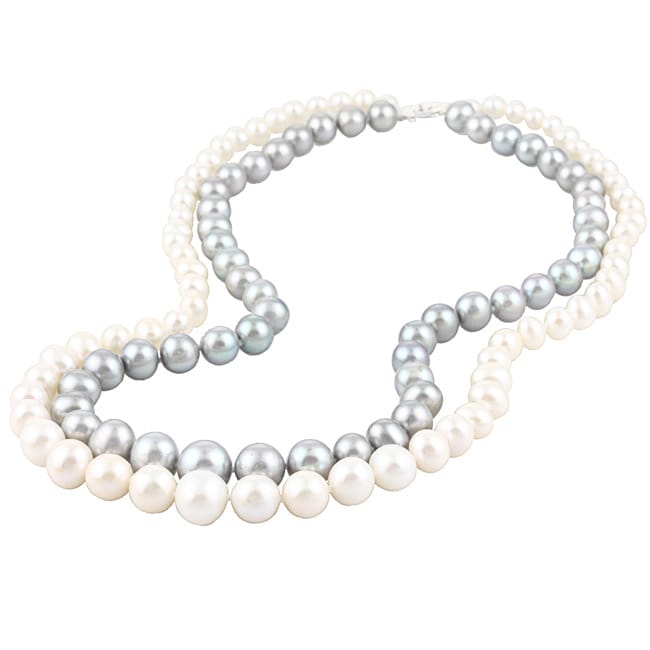 DaVonna Silver White and Grey FW Pearl 2-row Graduated Necklace (6-11 mm)