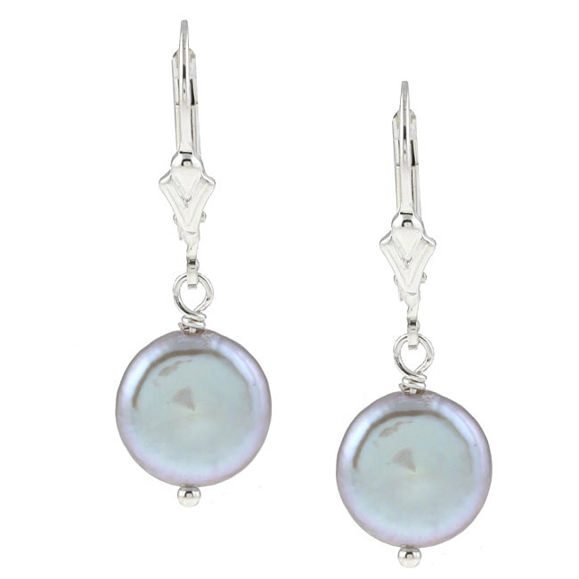 DaVonna Silver Grey FW Coin Pearl Earrings (9-11 mm)
