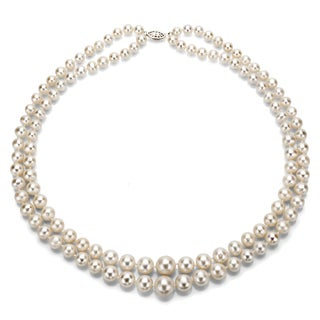 DaVonna Silver White Freshwater Pearl 2-row Graduated Necklace with Gift Box (16
