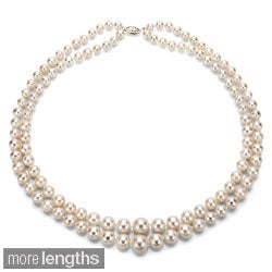 DaVonna Silver White Freshwater Pearl 2-row Graduated Necklace with Gift Box