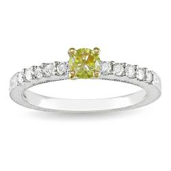 Miadora 14k Two-tone Gold 1/2ct TDW Yellow and White Diamond Ring (G-H, I2)