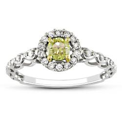Miadora 14k Gold 1/2ct TDW Yellow and White Diamond Halo Ring (G-H, I2)