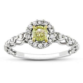 Miadora 14k Gold 1/2ct TDW Yellow and White Diamond Halo Ring (G-H, I2)