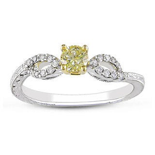 Miadora 14k Two-tone Gold 1/3ct TDW Yellow and White Diamond Ring (G-H, I2)