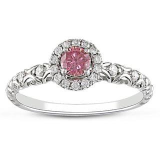 Miadora 14k White Gold 1/2ct TDW Pink and White Diamond Halo Ring (G-H, I2)