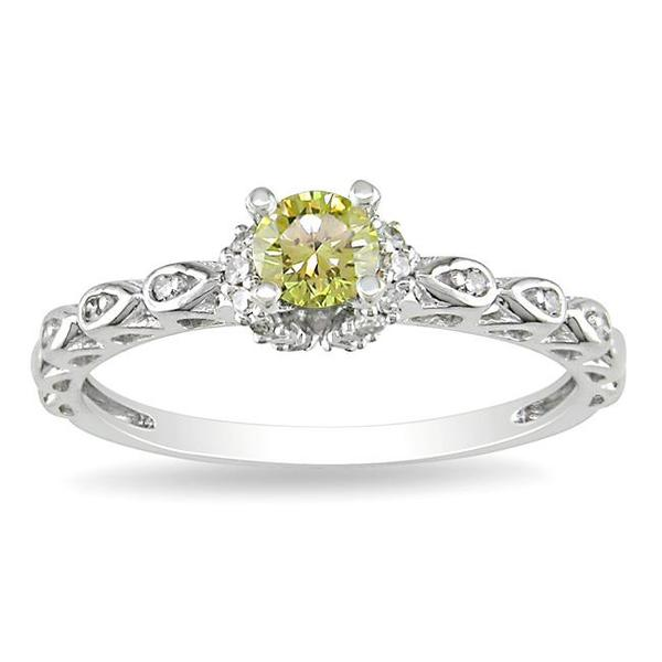 Miadora 14k White Gold 3/8ct TDW Yellow and White Diamond Ring (G-H, I2)