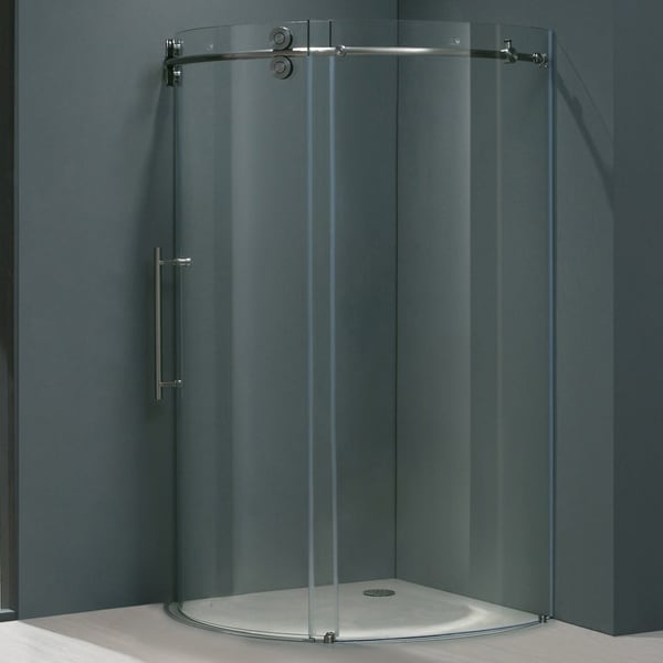Vigo Frameless Round Clear Shower Enclosure with Left-Sided Door (36 x 36)