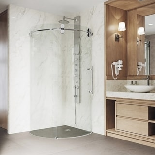 "VIGO 40 x 40 Frameless Round 5/16"" Clear Shower Enclosure Right-Sided Door"