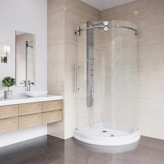 "VIGO 40 x 40 Frameless Round 5/16"" Clear Shower Enclosure"