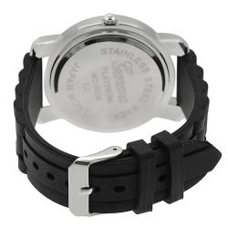 Geneva Platinum Women's Rhinestone Black Silicone Watch