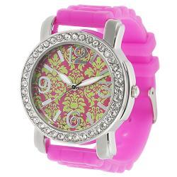 Geneva Platinum Women's Rhinestone Silicone Watch
