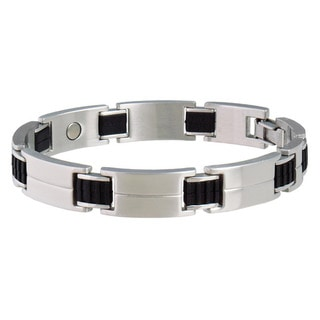 Sabona Sport Stainless Steel and Rubber Magnetic Bracelet