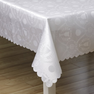 Woven White on White Shabbat and Yom Tov 57x119-inch Tablecloth