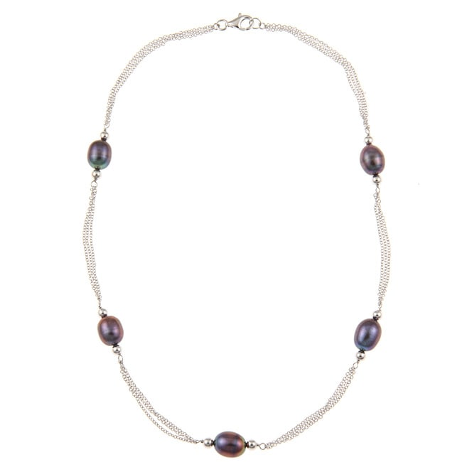 Kabella Sterling Silver Black Freshwater Rice Pearl Chain Necklace (9-10 mm)