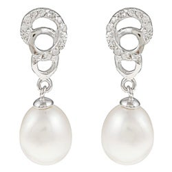Kabella Silver White FW Pearl and Cubic Zirconia Double Circle Earrings (7-8 mm)
