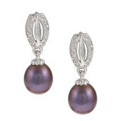 Kabella High-Polish Sterling-Silver Cubic Zirconia and Black Freshwater Pearl Earrings