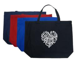 Los Angeles Pop Art 'Cursive Heart' Large Cotton Tote Bag