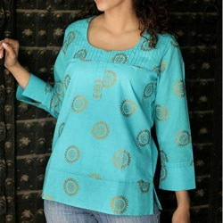 Women's Cotton 'Turquoise Sun' Blouse (India)