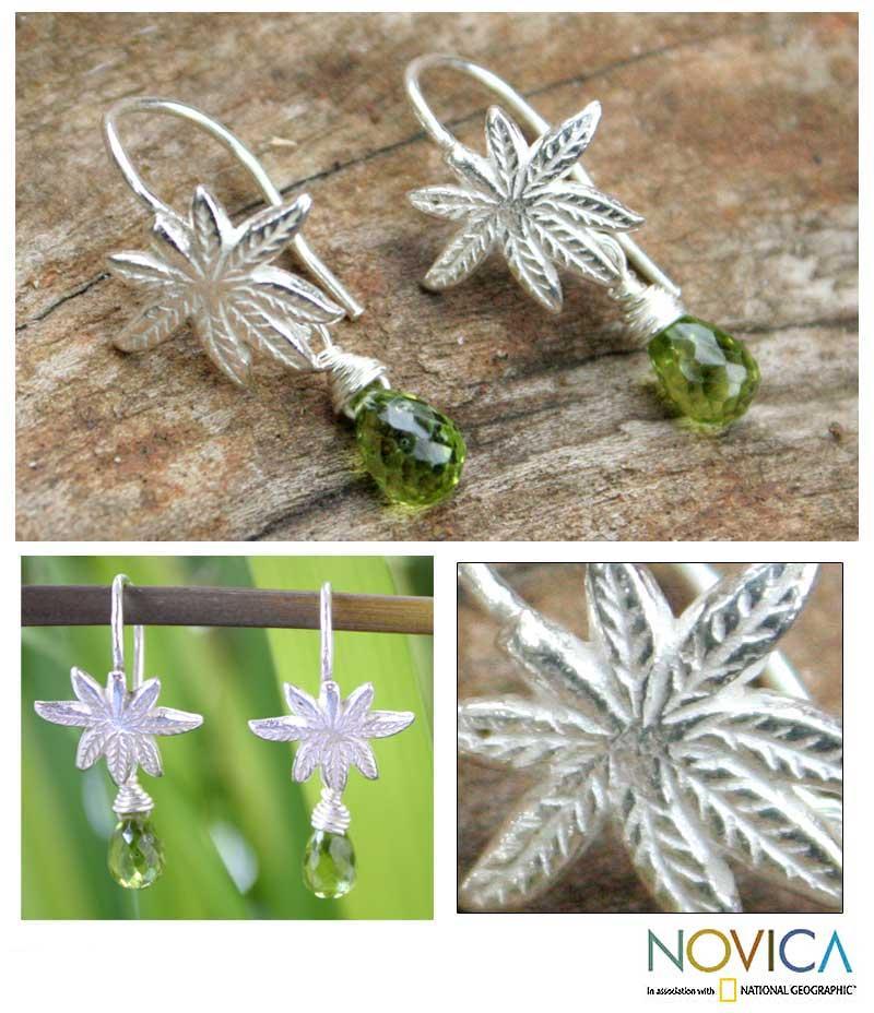Sterling Silver 'Silver Fern' Peridot Dangle Earrings (Thailand)