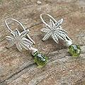 Sterling Silver 'Silver Fern' Peridot Dangle Earrings (Thailand)