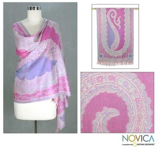 Wool 'Story of a Rose' Shawl (India)
