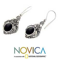 Sterling Silver 'Midnight Garden' Onyx Flower Earrings (Indonesia)