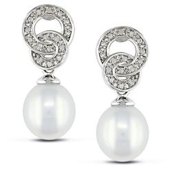 Miadora Sterling Silver FW Pearl and 1/10ct TDW Diamond Earrings (G-H, I3) (8-8.5 mm)