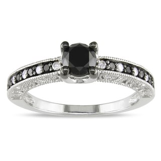 Miadora Sterling Silver 1ct TDW Black and White Diamond Ring (G-H, I3) with Bonus Earrings