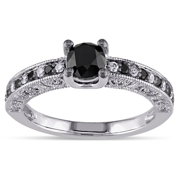 Miadora Sterling Silver 1ct TDW Black and White Diamond Ring (G-H, I3)