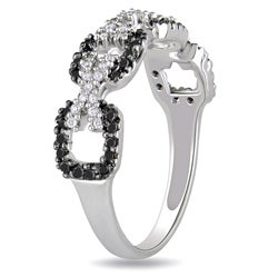 M by Miadora Sterling Silver 3/8ct TDW Black and White Diamond Ring (G-H, I3)