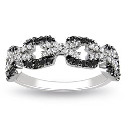 Miadora Sterling Silver 3/8ct TDW Black and White Diamond Ring (G-H, I3)