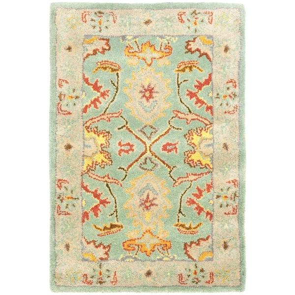 Safavieh Handmade Heritage Treasures Light Blue/ Ivory Wool Rug (3' x 5')