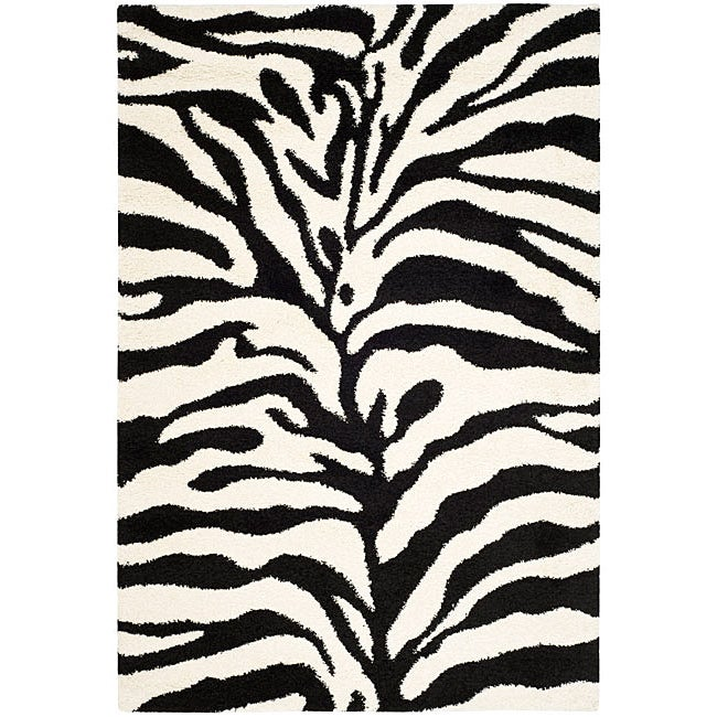 Safavieh Hand-woven Ultimate Ivory/ Black Shag Rug (4' x 6')