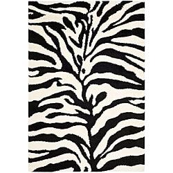 Safavieh Hand-woven Ultimate Ivory/ Black Shag Rug (8' x 10')