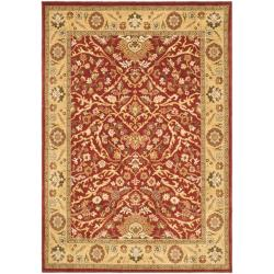 Handmade Majesty Red/ Gold New Zealand Wool Rug (5'3 x 7'6)