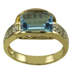 Gems for You 10k Yellow Gold Swiss Blue Topaz and Diamond Accent Ring